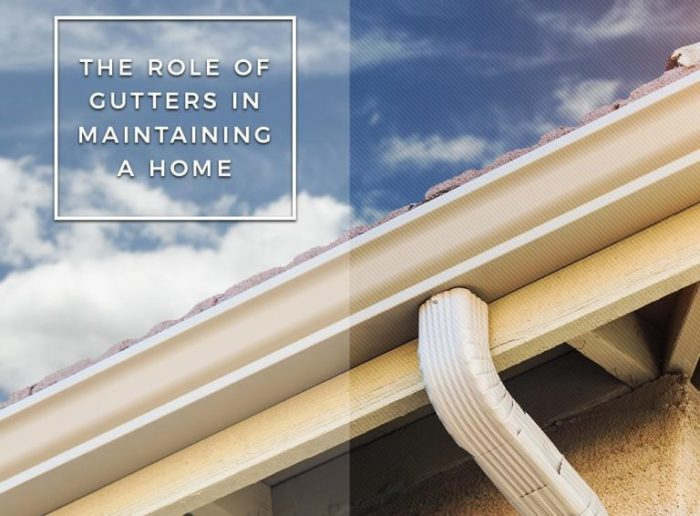 Newly installed gutter with The role of gutter heading